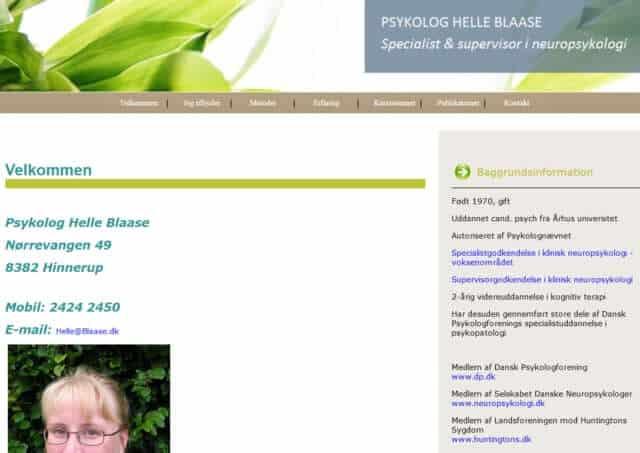 Screenshot af psykolog-hjemmeside i Favrskov